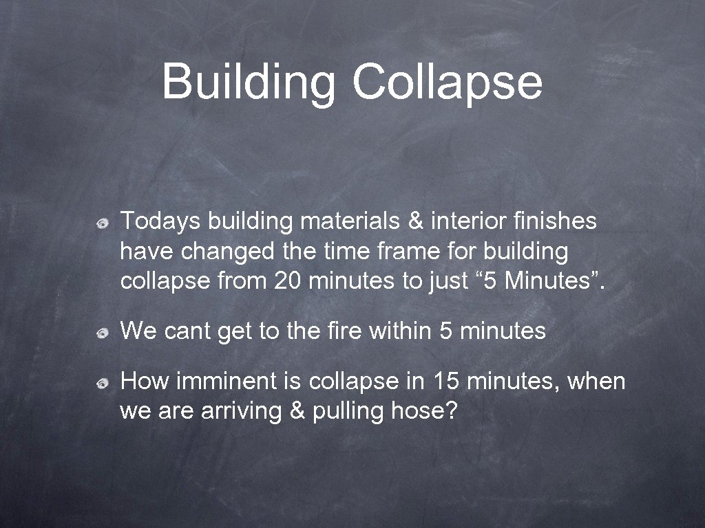 Building Collapse Todays building materials & interior finishes have changed the time frame for