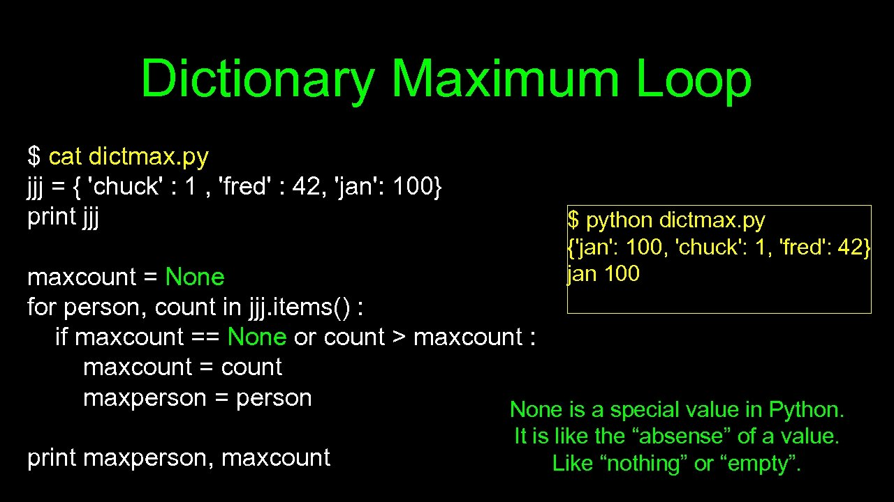 Dictionary Maximum Loop $ cat dictmax. py jjj = { 'chuck' : 1 ,