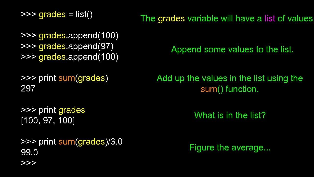 >>> grades = list() >>> grades. append(100) >>> grades. append(97) >>> grades. append(100) >>>