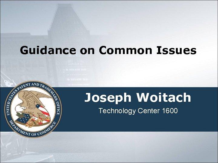 Guidance on Common Issues Joseph Woitach Technology Center 1600