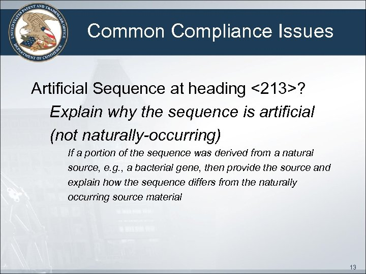 Common Compliance Issues Artificial Sequence at heading <213>? Explain why the sequence is artificial