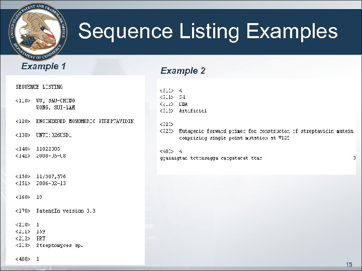 Sequence Listing Examples Example 1 Example 2 15