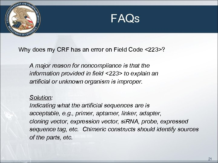FAQs Why does my CRF has an error on Field Code <223>? A major