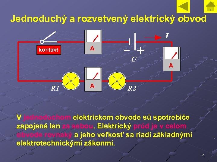 Jednoduchý a rozvetvený elektrický obvod I kontakt A U R 1 A A R
