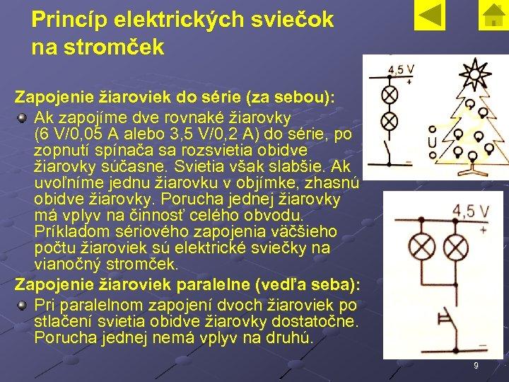 Princíp elektrických sviečok na stromček Zapojenie žiaroviek do série (za sebou): Ak zapojíme dve