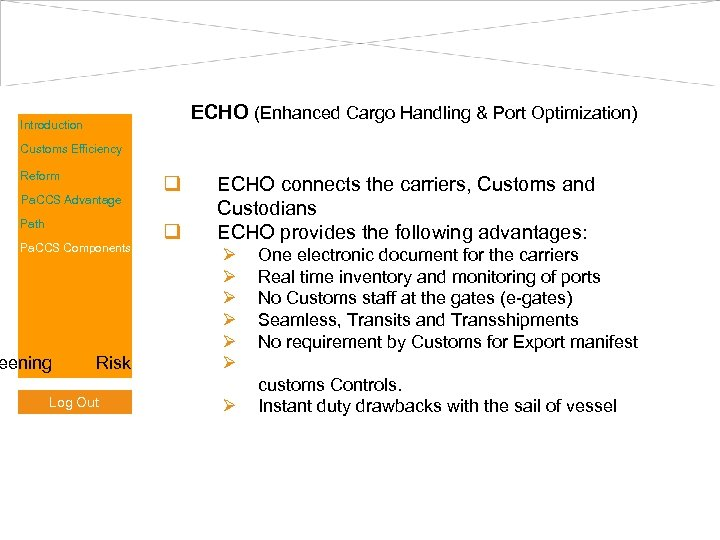 ECHO (Enhanced Cargo Handling & Port Optimization) Introduction Customs Efficiency Reform Pa. CCS Advantage