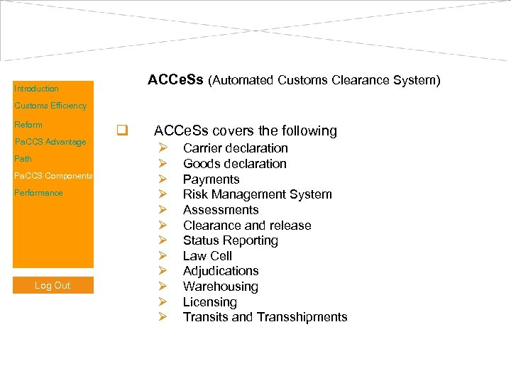 ACCe. Ss (Automated Customs Clearance System) Introduction Customs Efficiency Reform Pa. CCS Advantage Path