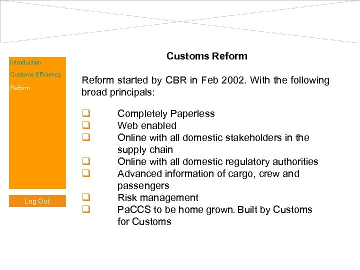 Customs Reform Introduction Customs Efficiency Reform started by CBR in Feb 2002. With the