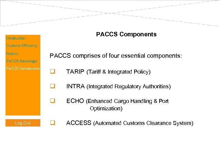PACCS Components Introduction Customs Efficiency Reform Pa. CCS Advantage Pa. CCS Components PACCS comprises