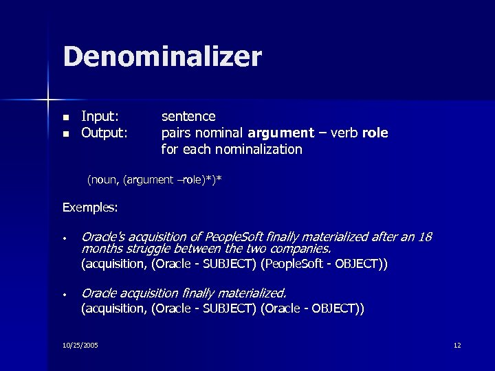 Denominalizer n n Input: Output: sentence pairs nominal argument – verb role for each