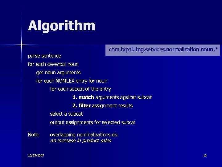 Algorithm com. fxpal. ltng. services. normalization. noun. * parse sentence for each deverbal noun