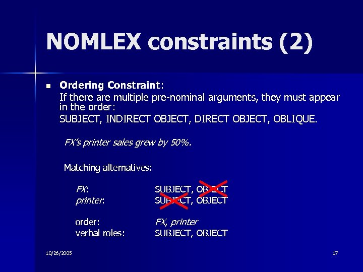 NOMLEX constraints (2) n Ordering Constraint: If there are multiple pre-nominal arguments, they must
