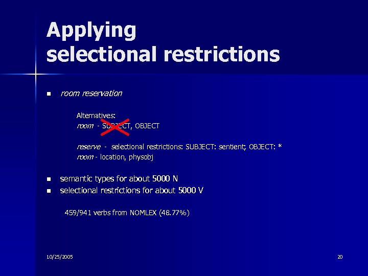 Applying selectional restrictions n room reservation Alternatives: room - SUBJECT, OBJECT reserve - selectional