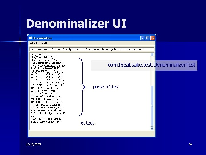 Denominalizer UI com. fxpal. sake. test. Denominalizer. Test parse triples output 10/25/2005 30