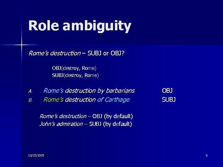 Role ambiguity Rome's destruction – SUBJ or OBJ? OBJ(destroy, Rome) SUBJ(destroy, Rome) A. B.