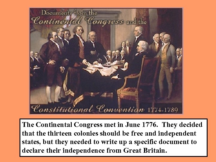 The Continental Congress met in June 1776. They decided that the thirteen colonies should