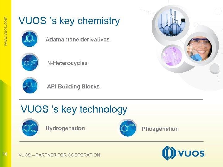 VUOS 's key chemistry Adamantane derivatives N-Heterocycles API Building Blocks 10 VUOS 's key