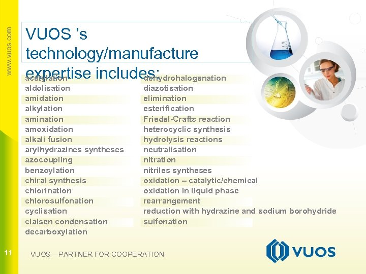 VUOS 's technology/manufacture expertise includes: acetylation dehydrohalogenation aldolisation amidation alkylation amination amoxidation alkali fusion