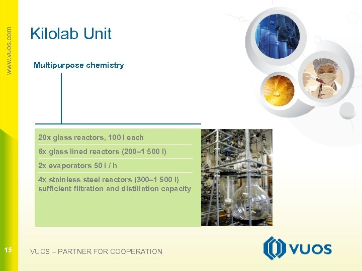 Kilolab Unit Multipurpose chemistry 20 x glass reactors, 100 l each 15 6 x