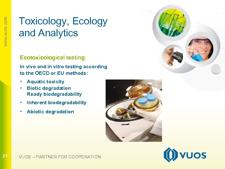 Toxicology, Ecology and Analytics Ecotoxicological testing: In vivo and in vitro testing according to