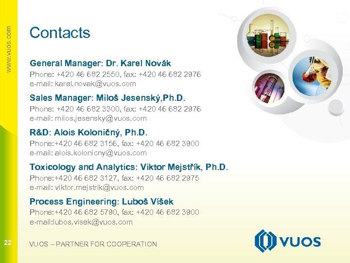 Contacts General Manager: Dr. Karel Novák Phone: +420 46 682 2550, fax: +420 46