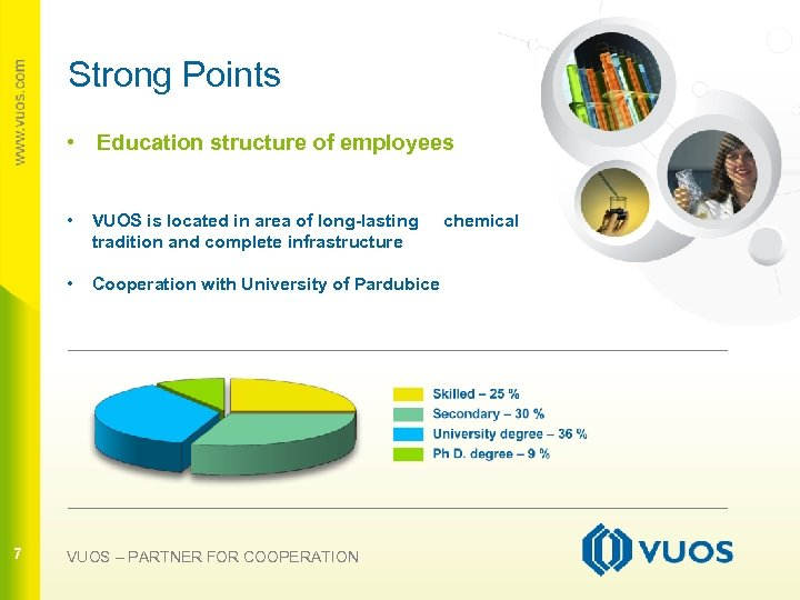Strong Points • Education structure of employees • • 7 VUOS is located in