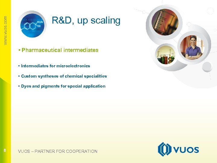 R&D, up scaling • Pharmaceutical intermediates • Intermediates for microelectronics • Custom syntheses of