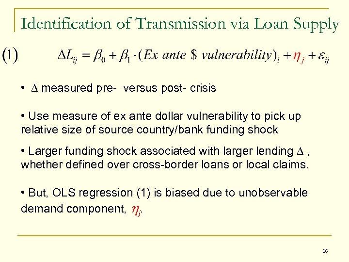 Identification of Transmission via Loan Supply • D measured pre- versus post- crisis •