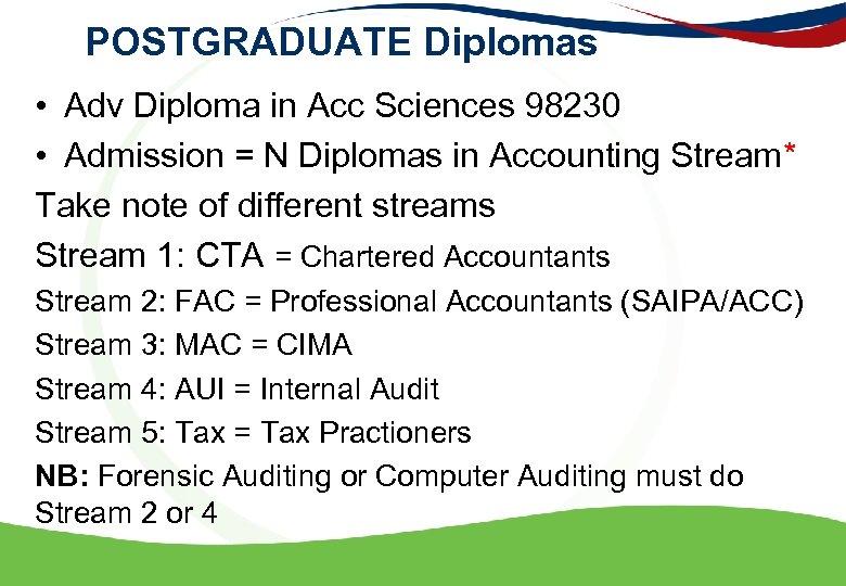 POSTGRADUATE Diplomas • Adv Diploma in Acc Sciences 98230 • Admission = N Diplomas