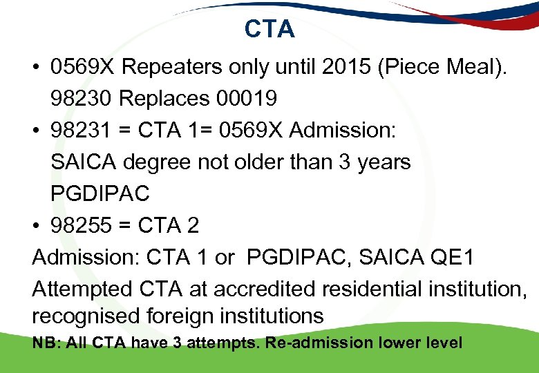 CTA • 0569 X Repeaters only until 2015 (Piece Meal). 98230 Replaces 00019 •