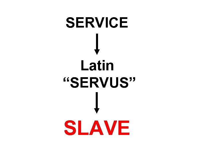 "SERVICE Latin ""SERVUS"" SLAVE"