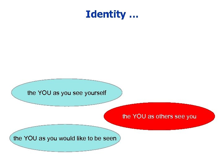 Identity … the YOU as you see yourself the YOU as others see you