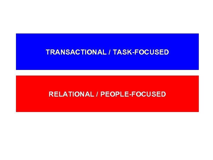 TRANSACTIONAL / TASK-FOCUSED RELATIONAL / PEOPLE-FOCUSED