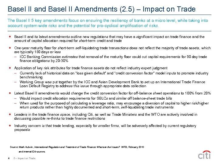 Basel II and Basel II Amendments (2. 5) – Impact on Trade The Basel
