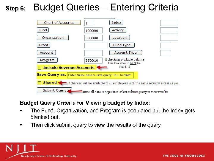 Step 6: Budget Queries – Entering Criteria Budget Query Criteria for Viewing budget by