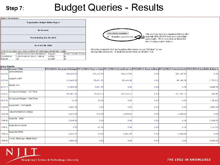 Step 7: Budget Queries - Results