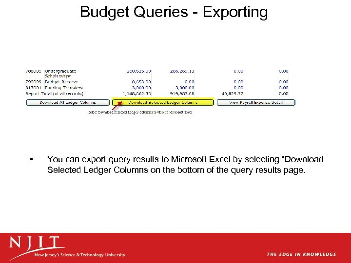 Budget Queries - Exporting • You can export query results to Microsoft Excel by