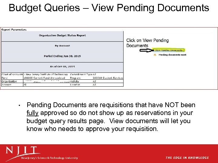 Budget Queries – View Pending Documents • Pending Documents are requisitions that have NOT