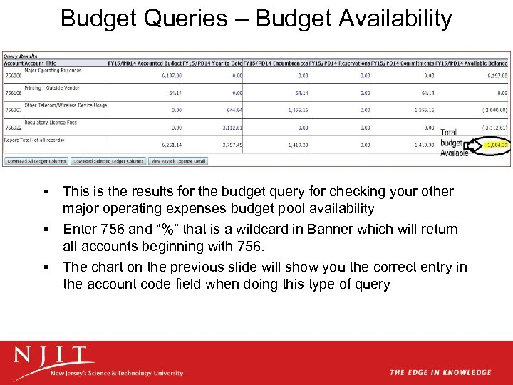 Budget Queries – Budget Availability This is the results for the budget query for