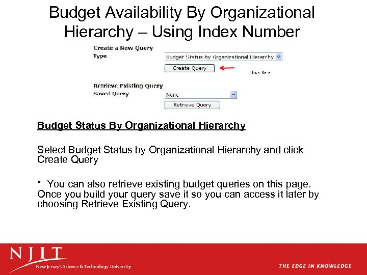Budget Availability By Organizational Hierarchy – Using Index Number Budget Status By Organizational Hierarchy