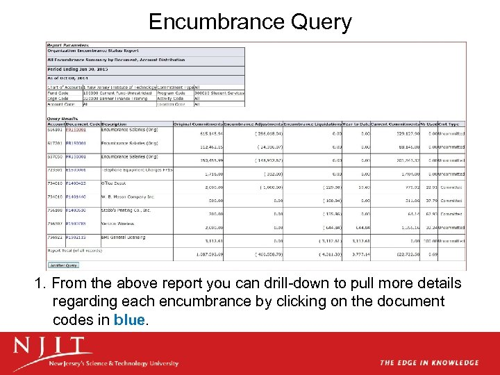 Encumbrance Query 1. From the above report you can drill-down to pull more details