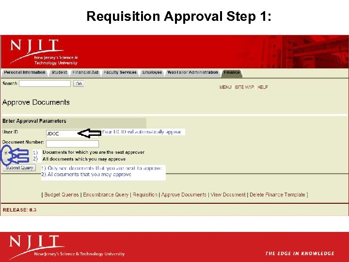 Requisition Approval Step 1: