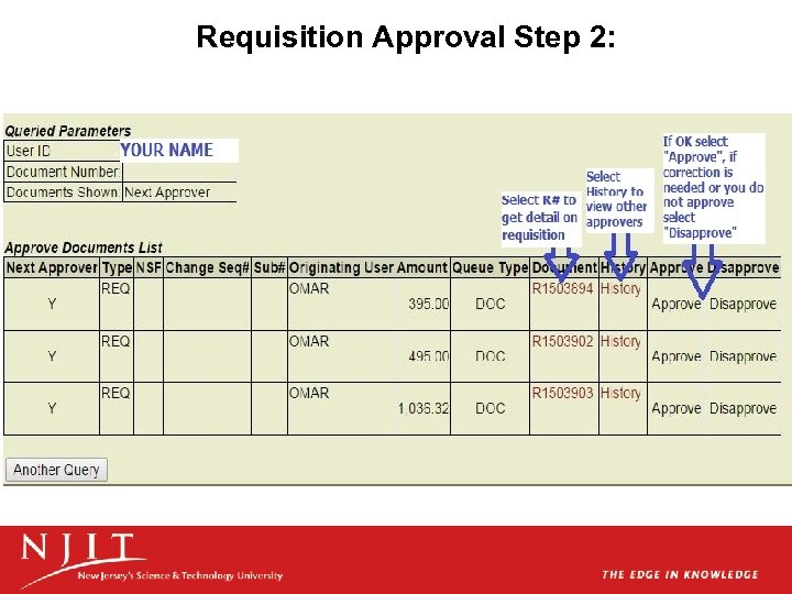 Requisition Approval Step 2:
