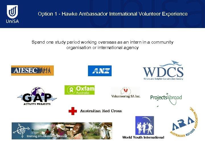 Option 1 - Hawke Ambassador International Volunteer Experience Spend one study period working overseas