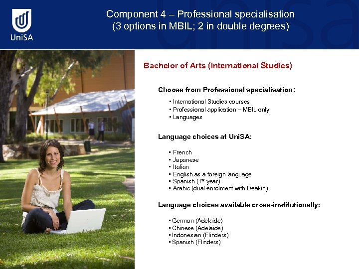 Component 4 – Professional specialisation (3 options in MBIL; 2 in double degrees) Bachelor