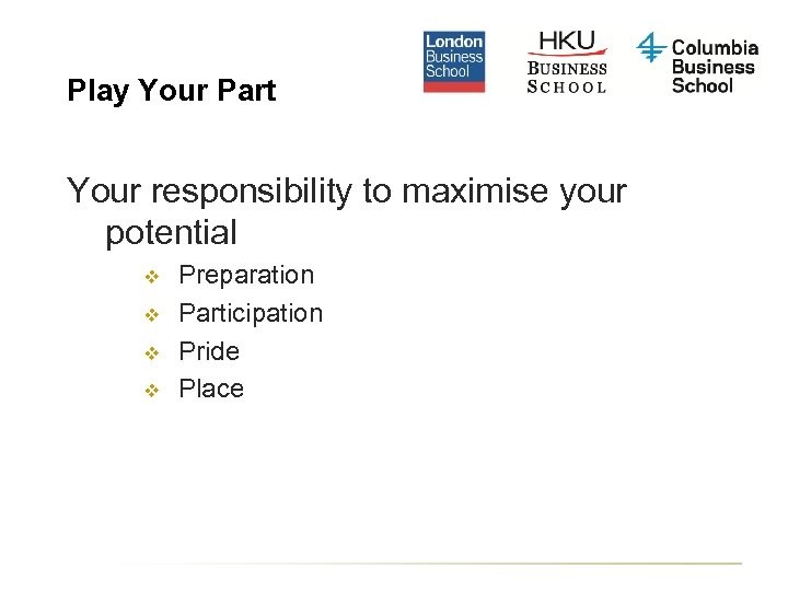 Play Your Part Your responsibility to maximise your potential v v Preparation Participation Pride