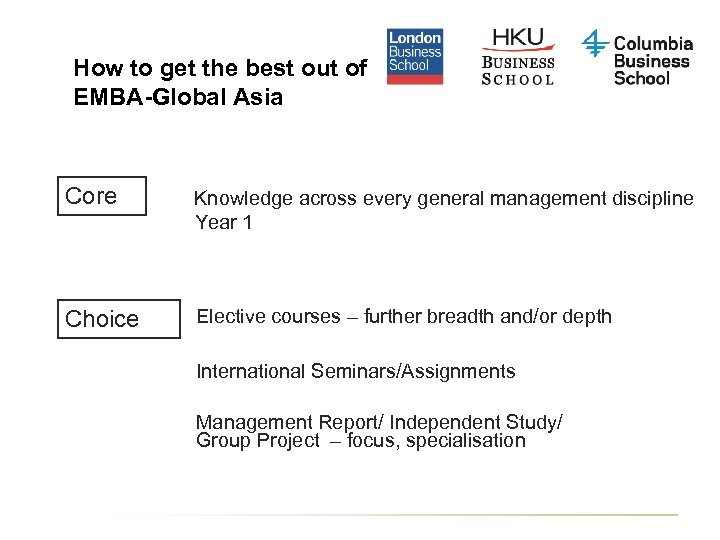 How to get the best out of EMBA-Global Asia Core Knowledge across every general