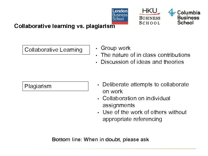 Collaborative learning vs. plagiarism Collaborative Learning Group work The nature of in class contributions