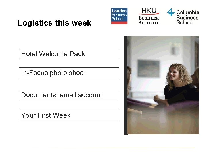 Logistics this week Hotel Welcome Pack In-Focus photo shoot Documents, email account Your First