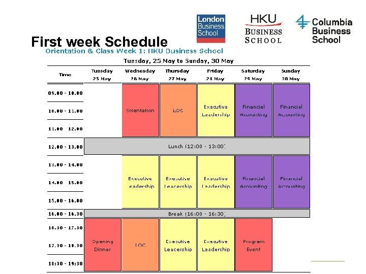 First week Schedule